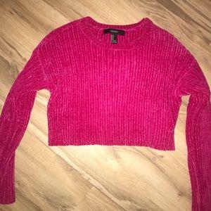 Cute hot pink crop sweater